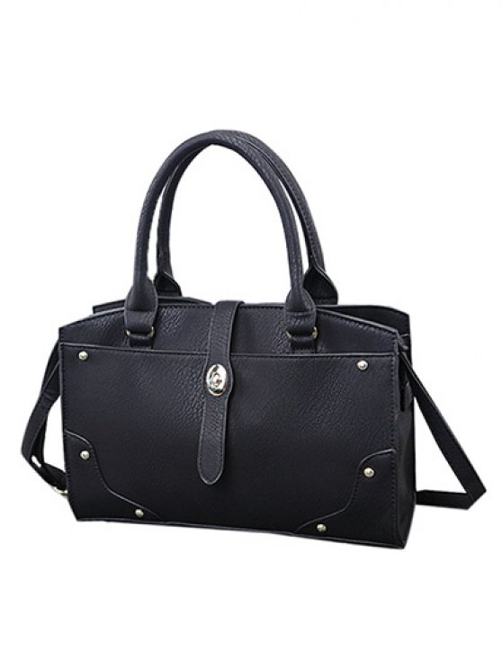Rivet Metal PU Leather Handbag -   Mobile