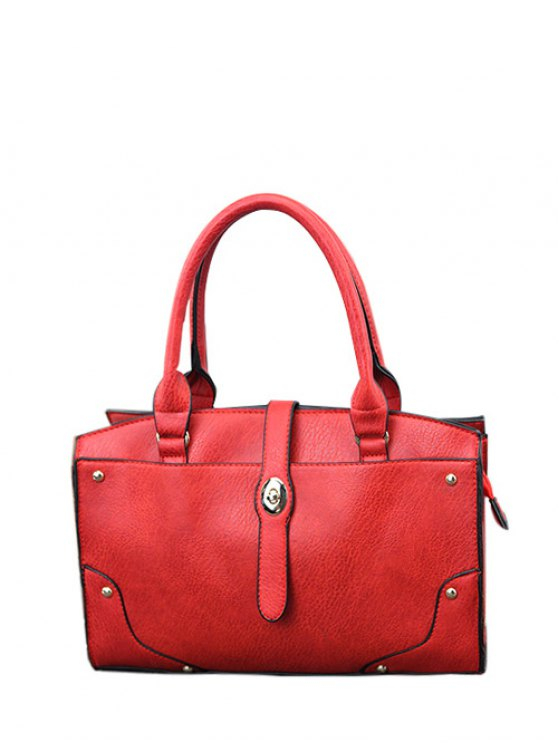 Rivet Metal PU Leather Handbag - RED  Mobile