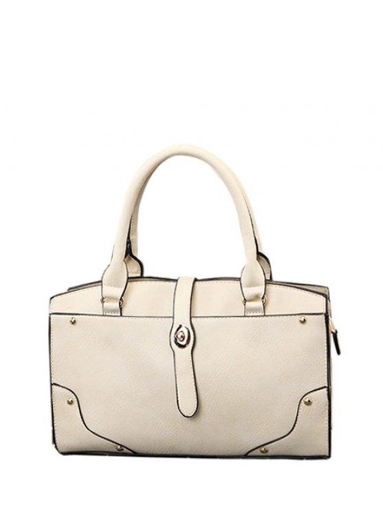 Rivet Metal PU Leather Handbag - WHITE  Mobile