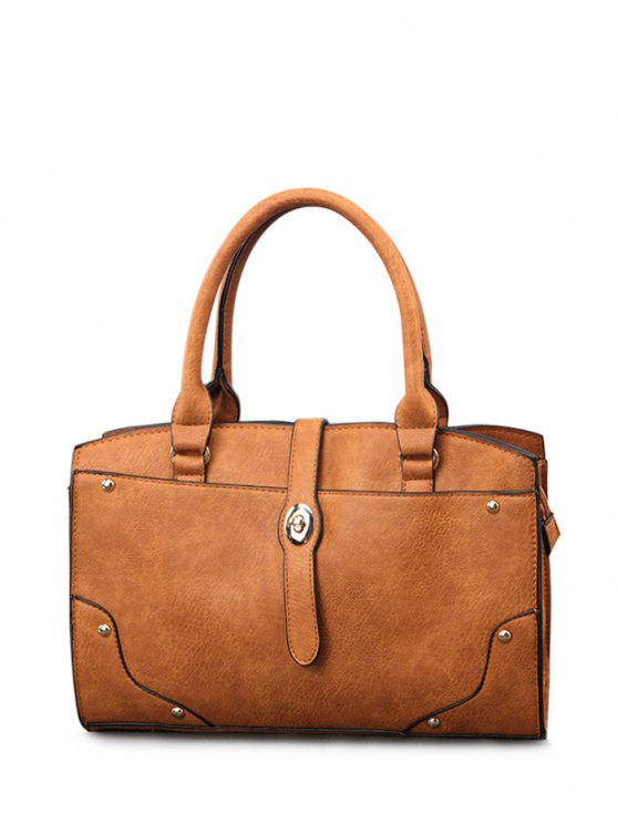 Rivet Metal PU Leather Handbag - BROWN  Mobile