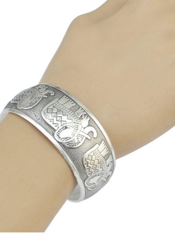 Elephant Carving Cuff Bracelet -   Mobile