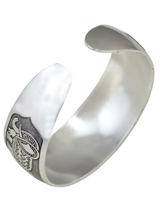 Elephant Carving Cuff Bracelet -   Mobile