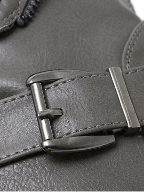 Belt Buckle Zipper Short Boots - DEEP GRAY 39 Mobile