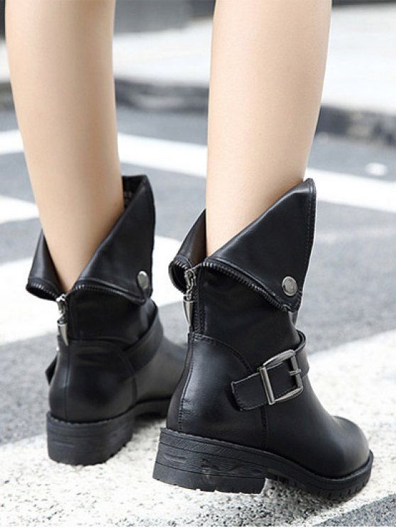 Belt Buckle Zipper Short Boots - BLACK 39 Mobile