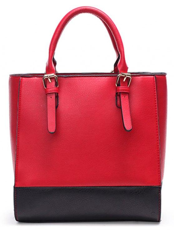 Color Block Buckle Straps Handbag - BLACK  Mobile