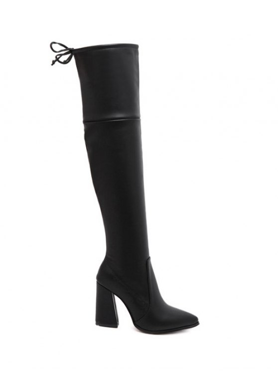Tie Up Zipper Pointed Toe Thigh Boots - BLACK 37 Mobile