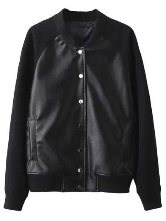 PU Panel Baseball Jacket - BLACK S Mobile