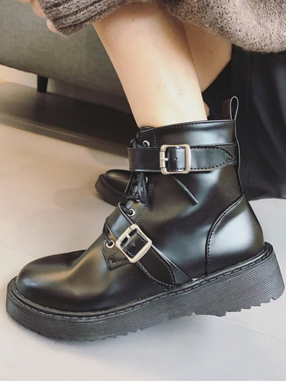 Double Buckle Platform Tie Up Ankle Boots - BLACK 39 Mobile