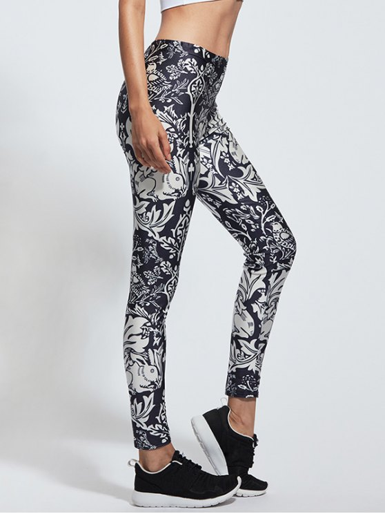 Skinny Floral Print High Waist Yoga Leggings - COLORMIX XL Mobile
