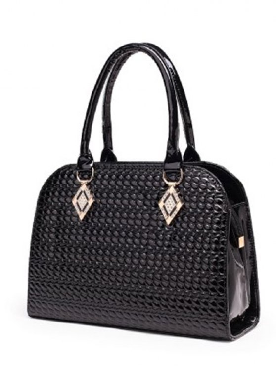 Patent Leather Embossed Handbag - ROSE RED  Mobile