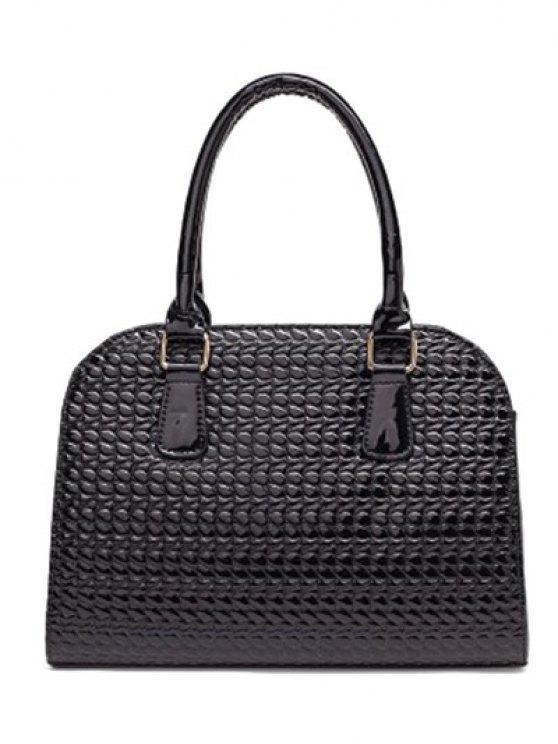 Patent Leather Embossed Handbag - GOLDEN  Mobile
