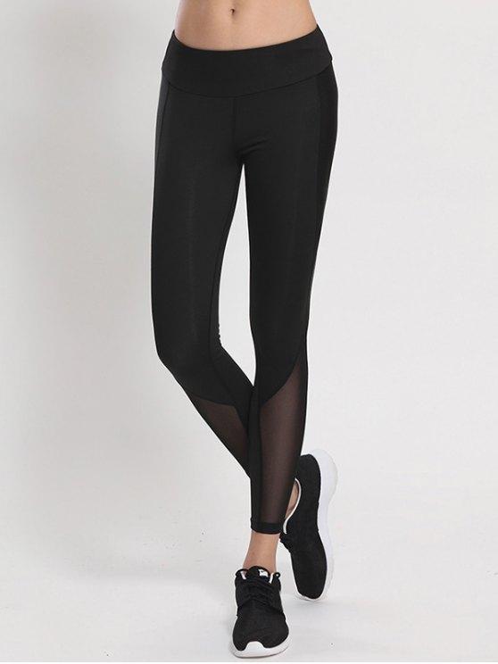 Mesh Panel High Waist Skinny Yoga Leggings - BLACK XL Mobile