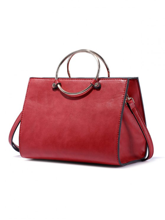 Metal Ring PU Leather Handbag -   Mobile