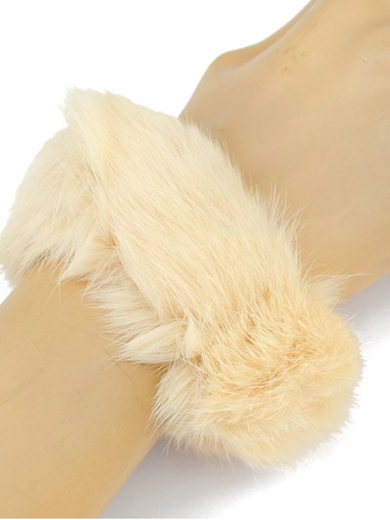 Furry Ball Elastic Bracelet - BEIGE  Mobile