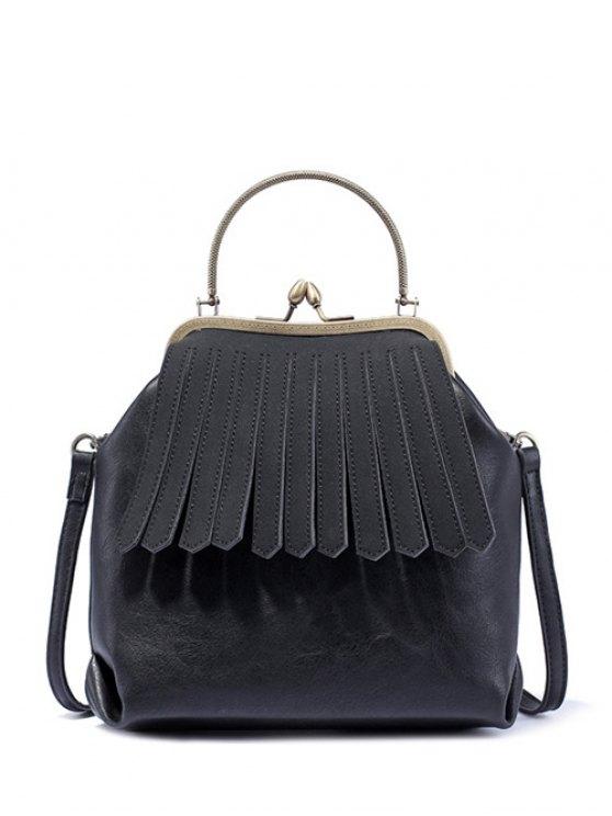 Vintage Metal Trimmed Fringe Bag - BLACK  Mobile