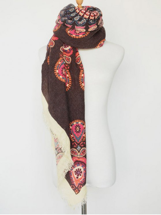 Floral Pattern Fringe Square Scarf - COFFEE  Mobile