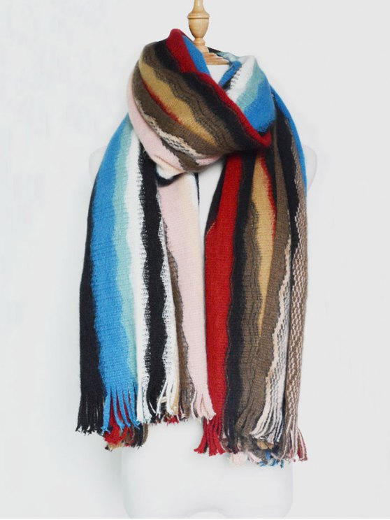 Wave Stripe Tassel Knit Scarf -   Mobile