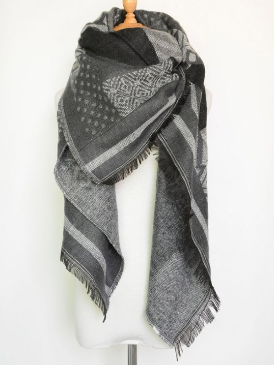Aztec Geometry Fringed Knit Scarf -   Mobile