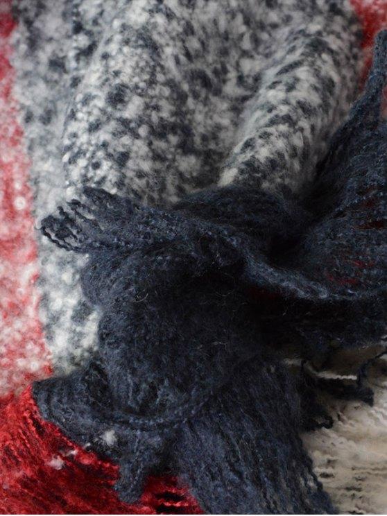 Color Block Tassel Woolen Yarn Scarf - CADETBLUE  Mobile