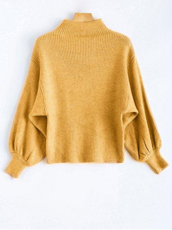 fancy Ribbed Puff Sleeve Mock Neck Sweater - YELLOW ONE SIZE