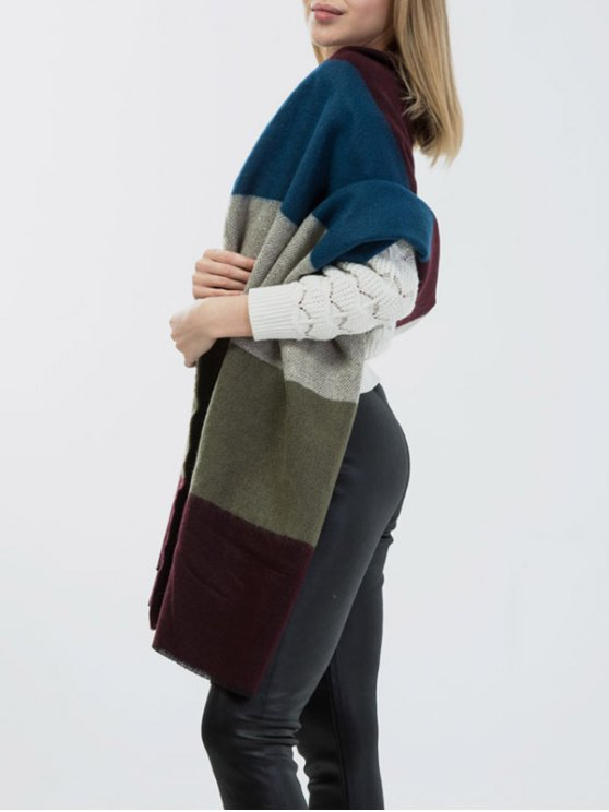 Color Block Wide Striped Knitted Scarf -   Mobile