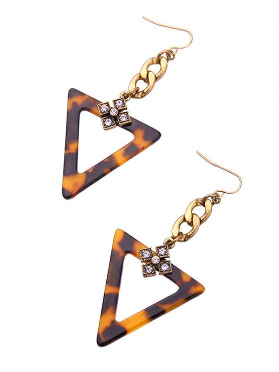 Leopard Print Rhinestone Triangle Earrings - LEOPARD  Mobile