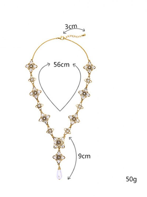 Artificial Pearl Rhinestone Flower Necklace -   Mobile