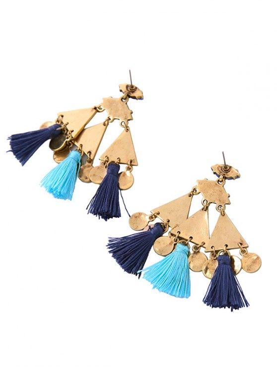 Vintage Geometric Tassel Drop Earrings - BLUE  Mobile