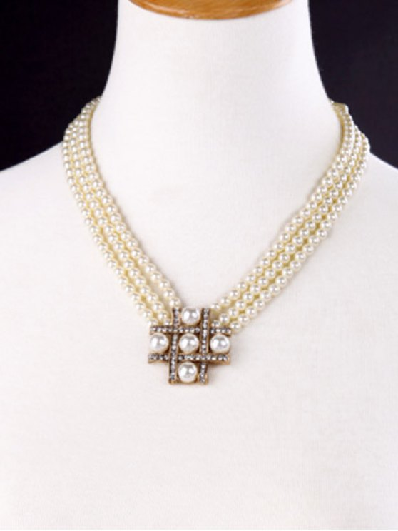 Multilayered Faux Pearl Beaded Necklace -   Mobile