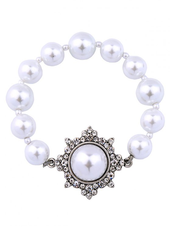 Artificial Pearl Vintage Beaded Bracelet -   Mobile
