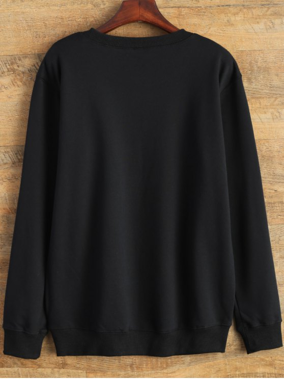 Text Print Crewneck Sweatshirt - BLACK L Mobile