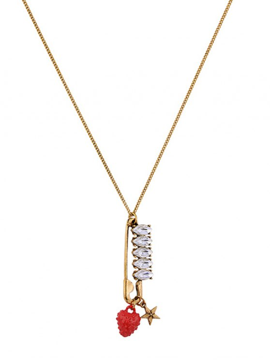 Rhinestone Strawberry Star Sweater Chain -   Mobile