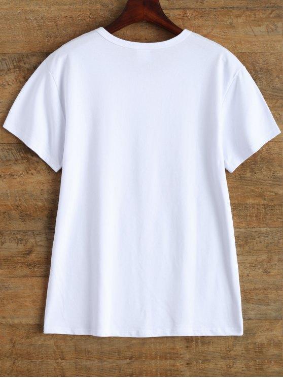 Jewel Neck Letter Cotton Tee - WHITE L Mobile