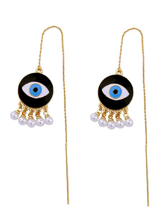 Faux Pearl Eye Earrings - GOLDEN  Mobile