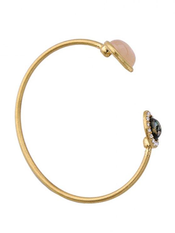 Artificial Gemstone Rhinestone Cuff Bracelet - GOLDEN  Mobile