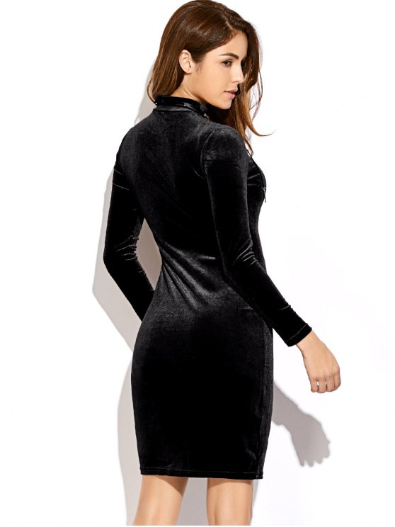 Mock Neck Velvet Mini Bodycon Dress - BLACK ONE SIZE Mobile