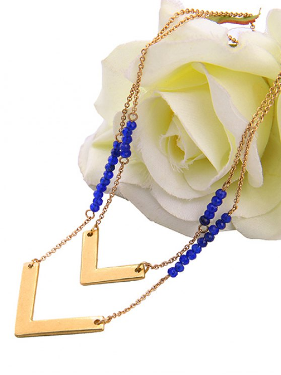 Layered V Shaped Beads Necklace - GOLDEN  Mobile
