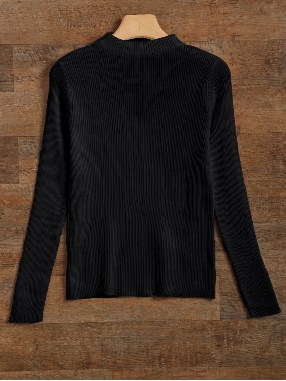 Ribbed Cut Out Choker Jumper - BLACK M Mobile