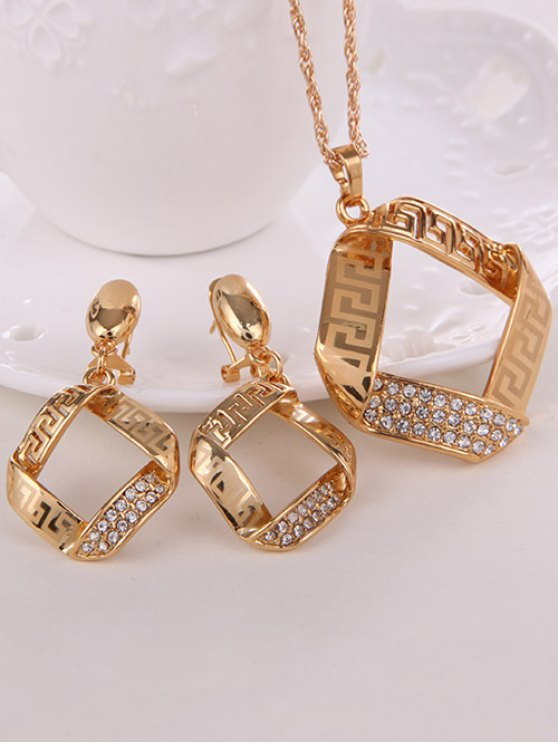 Square Rhinestone Hollow Out Jewelry Set -   Mobile