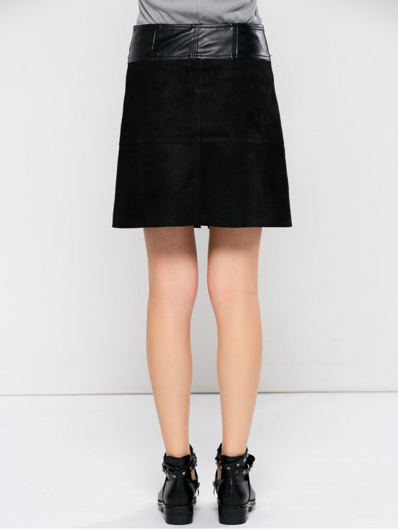 PU Leather Panel A Line Skirt - BLACK L Mobile