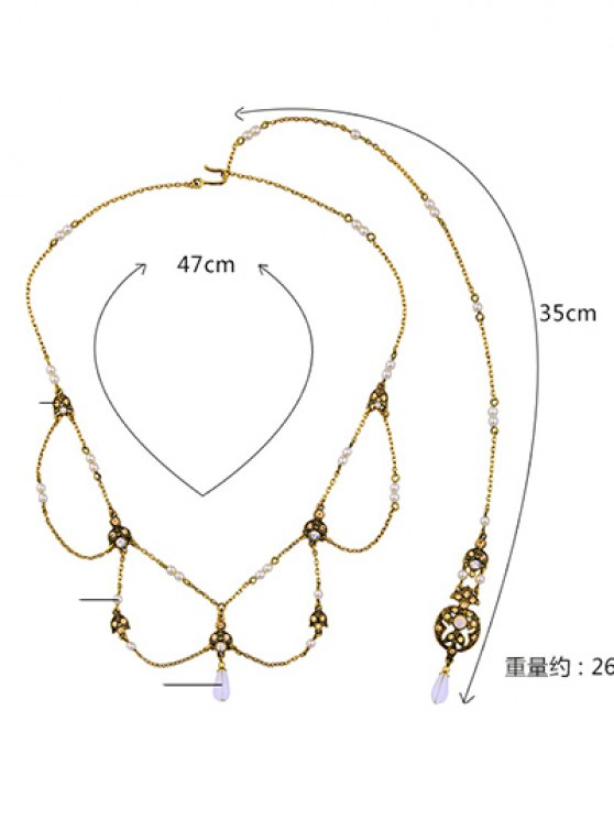 Artificial Pearl Rhinestone Collar Necklace -   Mobile
