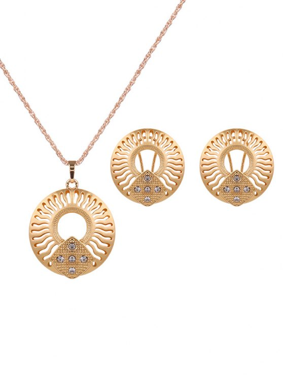 Rhinestone Cut Out Jewelry Set - GOLDEN  Mobile