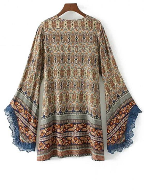 Bell Sleeve Lace Trim Boho Print Dress - COLORMIX S Mobile