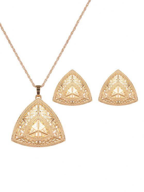 Hollow Out Triangle Jewelry Set -   Mobile