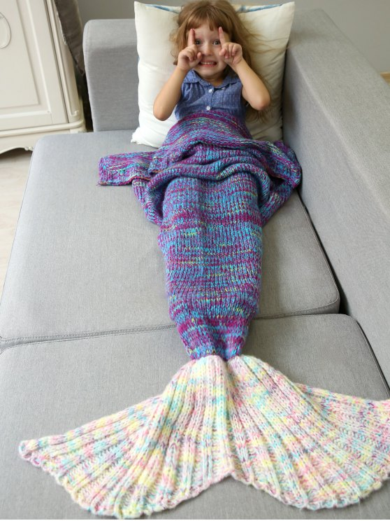 Knitted Sofa Kids Mermaid Blanket -   Mobile
