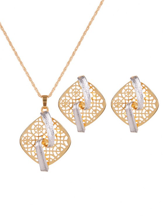 Rhombus Hollow Out Jewelry Set -   Mobile