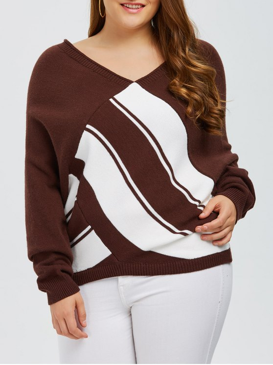 Color Block Plus Size V Neck Sweater - COFFEE 2XL Mobile
