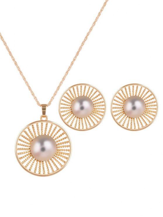 Faux Pearl Round Jewelry Set -   Mobile