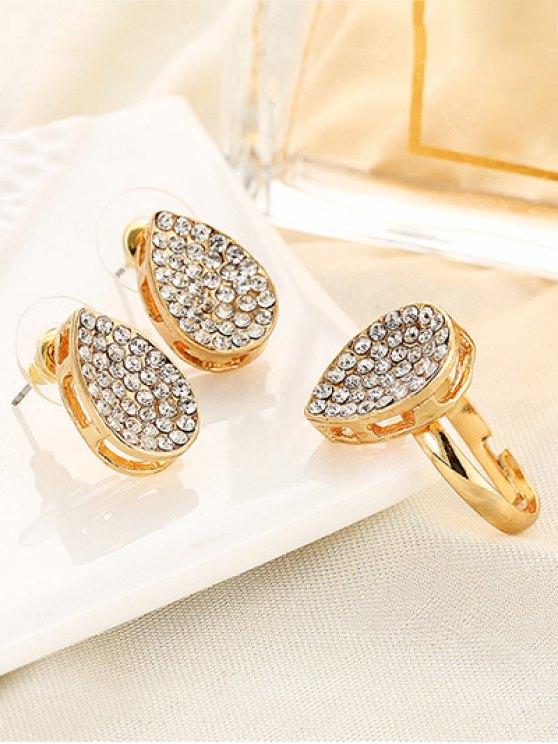 Rhinestoned Teardrop Earrings and Ring -   Mobile