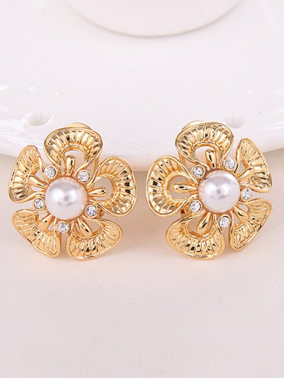 Floral Rhinestone Faux Pearl Jewelry Set -   Mobile